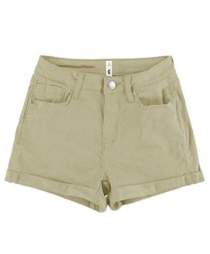 BLBD Women's Casual Stretchy High Waisted Shorts Khaki Large Beige Denim Shorts