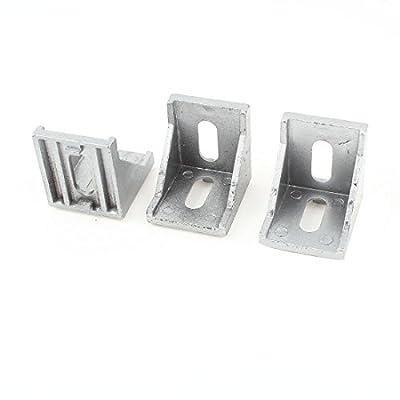 uxcell® 3 Pcs Silver Tone Metal 90 Degree Door Angle Bracket 40mm x 40mm