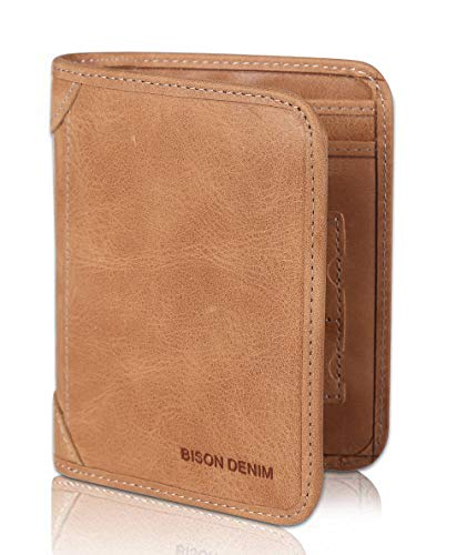 (BISON DENIM RFID Blocking Bifold Wallet Front Pocket Genuine Leather Wallets Thin Credit Card Holder for Mens Womens, California Desert, Large)