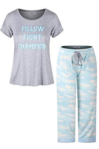 SofiePJ Women's Rayon Printed Top with Capri Pants Pajama Set Gray Blue M