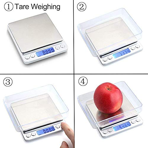 JOYIT Digital Kitchen Scale 500g/0.01g - Stainless Steel Cooking Food Scale, Coffee Scale with 2 Trays, LCD Display, Auto Off
