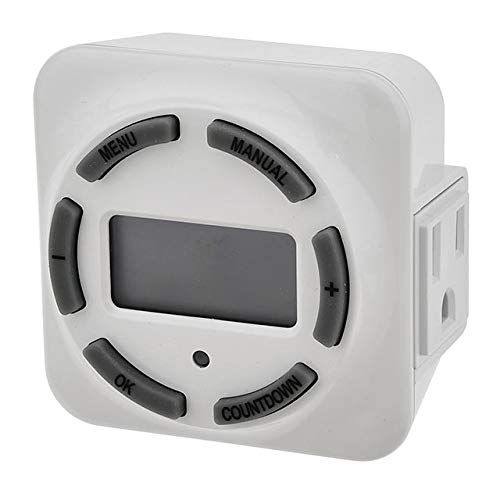 MarsLG 15A 7-Day Plug-in Ditigal Timer with Grounded Outlet for Select Landscape Lighting Transformers, ETL-Listed, White, ()