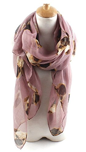 Nexxgen Fashion Designer Infinity Loop Scarf for Women- 30 Variations, Animal Print, American Flag, Red Black Blue Pink White etc. (Pug- Light Plum) (Pug Button)