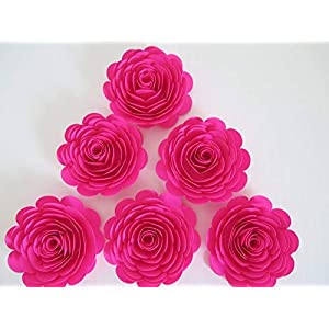 """Fuchsia Paper Flowers, 3"""" Hot Pink Roses, Set of 6, Girl Baby Shower Decorations, Wedding Table Decor, Bridal Shower Decor, Baby Nursery 43"""