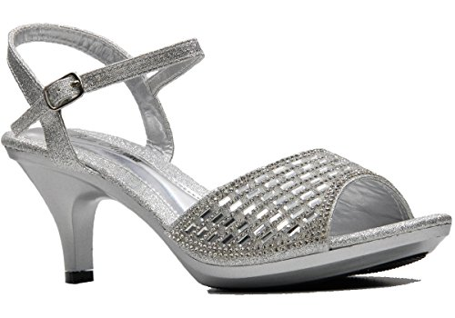 3' Heel Rhinestones (Women's Rhinestone Toe Band Ankle Strap Party Heels)