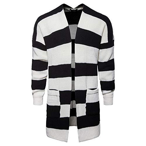 [해외]kemilove Men`s Autumn Winter New Medium Long Black and White Striped Knitted Coat / kemilove Men`s Autumn Winter New Medium Long Black and White Striped Knitted Coat