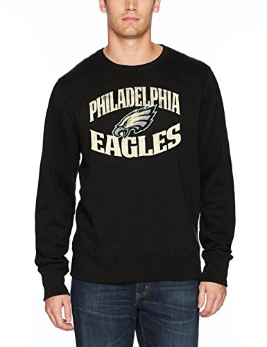 NFL Philadelphia Eagles Men's OTS Fleece Crew Distressed, Jet Black, Medium