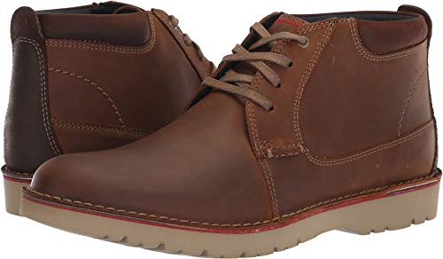 Clarks Men's Vargo Mid Ankle Boot, Dark Tan Leather, 110 M US