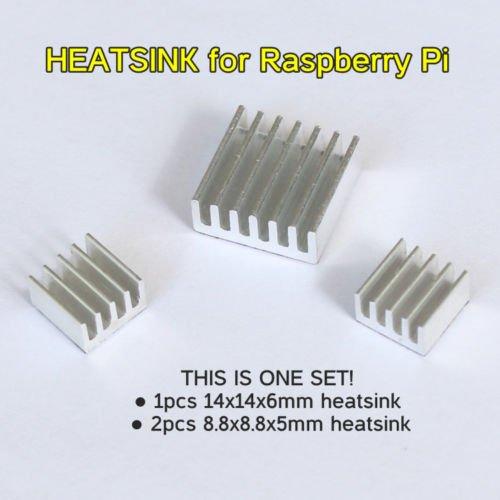 Raspberry Pi Heatsink Set for RP3B, 2B and B+ (Set of 3 Aluminum Heat Sinks)
