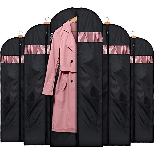 HOUSE DAY Garment Bags for Storage(5 Pack 60 inch) Garment Bags for Travel Lightweight Oxford Fabric Suit Bag for Storage and Travel,Closet,Washable Suit Cover for Dresses,Suits,Coats -