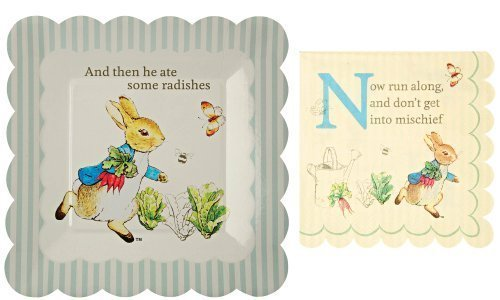 Meri Meri Peter Rabbit Small Square Party Plates And Napkins -- 12 Plates And 20 Napkins
