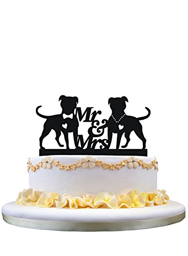 Wedding Cake Topper- Monogram Mr & Mrs Cake Topper, Silhouette of Dog Couple Gift Ideas for Wedding