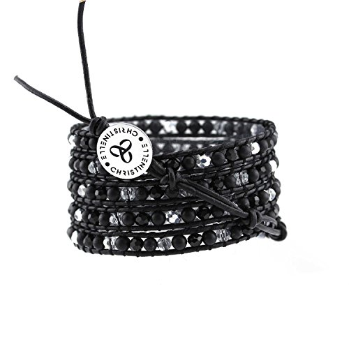 CHRISTINELLE Leather Wrap Bracelet, Beaded Bracelets for Women, Five Rows Matte Black Beads, 36