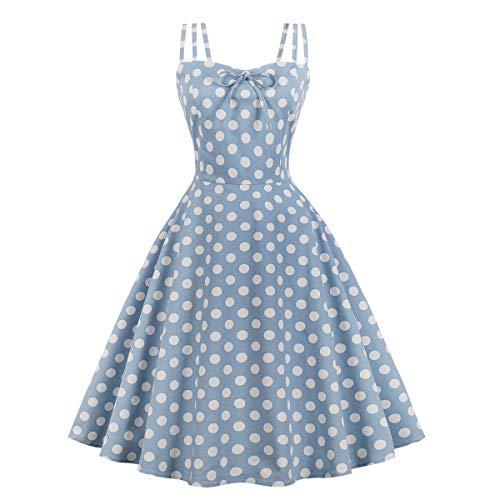Wellwits Women's Cami Strap Polka Dots Tea Party 1950s Vintage Dress Jean Blue 2XL ()