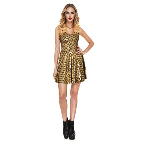 67ea62e8147f7 Women's Dress Gold Lesubuy Sleeveless Mermaid Pleated Scales Shiny Skater  Fish Tail zRXzqU