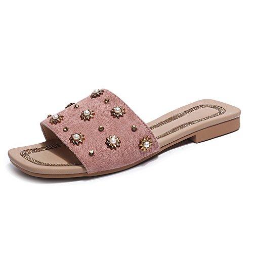 Bottom Shoes Word slippers Flat Beach Bow Open Lady Fashion Pink Casual Wild Toe women TTw4U