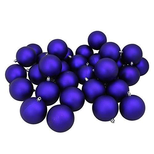 Northlight 32 Count Matte Shatterproof Christmas Ball Ornaments, 3.25 (80mm), Royal Blue