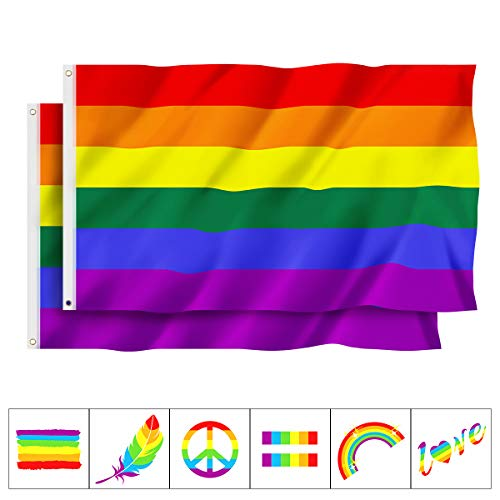 Unomor 2 PCS Gay Pride Flags with Tattoos, LGBT Pride Rainbow Flags with Brass Grommets and Hook and Loop Fasteners - 3 x 5 ft ()