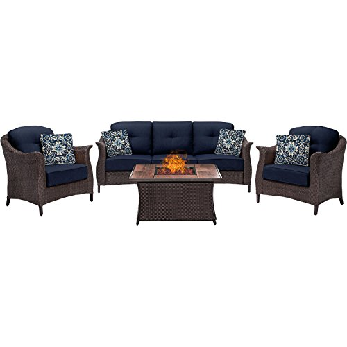 Hanover GRAM4PCFP-NVY-WG 4 Piece Gramercy Woven Fire Pit Set in Navy Blue price
