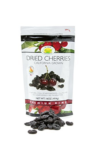 Sunrise Fresh Dried Fruit Company No Sugar Added Dried Dark Sweet Cherries, 16 oz. Bag