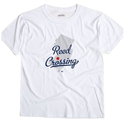 Reed Crossing New Jersey NJ MAP GreatCitees Unisex Souvenir T Shirt (Jersey Reed White)