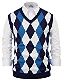 Men's Classic V-Neck Sweater Vest with Rhombus Pattern Design Navy Blue Size M
