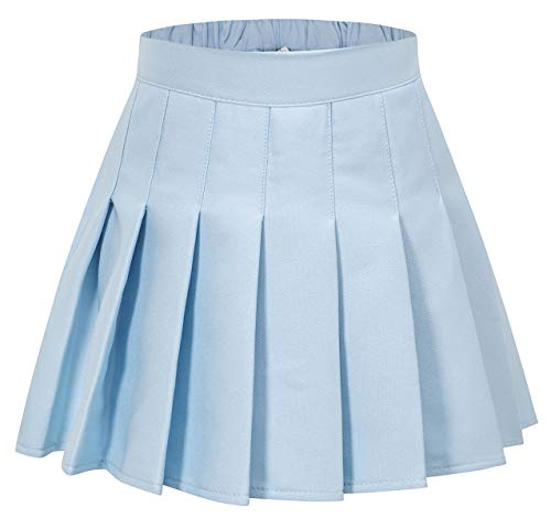 (SANGTREE Girls Pleated Short Skirt Skort, School Uniform Cosplay Costume Skirt for Toddlers, Little & Youth Big Girls Light Blue/New Version, Tag 170 = 13-14)