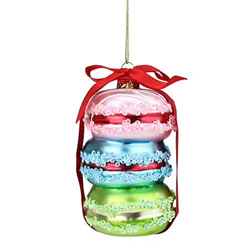 Northlight Dessert Delight Pink Blue and Lime Green Glass Macaroon Christmas Ornament, 4.25