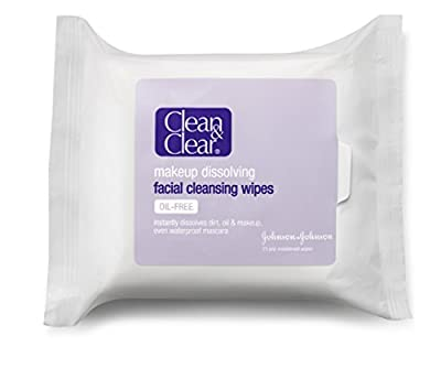 Clean & Clear Makeup Dissolving Facial Cleansing Wipes, 25 Count