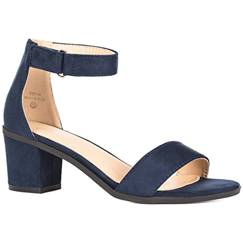 Sandal Color Woman Blue (Ankle Strap Chunky High Heels – Comfortable Open Toe Velcro Strap Sandal – Evening, Party, Wedding, Prom - Sophia (6 B(M) US, Navy))