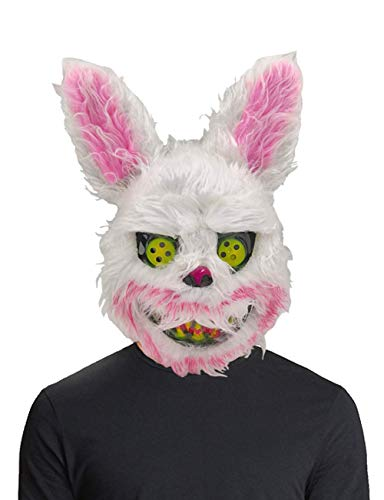 Scary Rabbit Costumes (Mimgo-shop Scary Halloween Animal Mask Bloody Bunny Mask for Men Boys' Halloween Costumes Spooky Animal Rabbit Cosplay for Party)