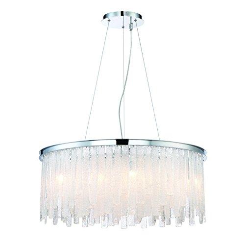 Eurofase Candice Handmade Panels of Granular Glass Chandelier, Polished Chrome Finish, 13 G9 Light Bulbs, 30 Inches in Diameter-Model 31606-011