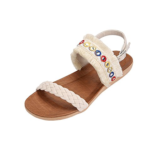 Roman Flops Flip Gladiator Low Sparkly Thongs Fringed Anti Sandals Wedge Toe Woven for Bohemia High Belt Tan VEMOW Flats Skidding Closed Platform Heels Beige Beach Women Slippers 6qTpx7awA