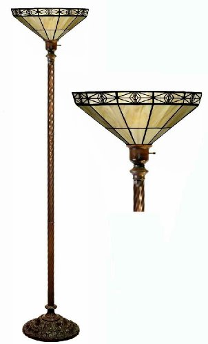 Mission Floor Lamp Torchiere (Tiffany-style Mission-style Off Yellow Torchiere)