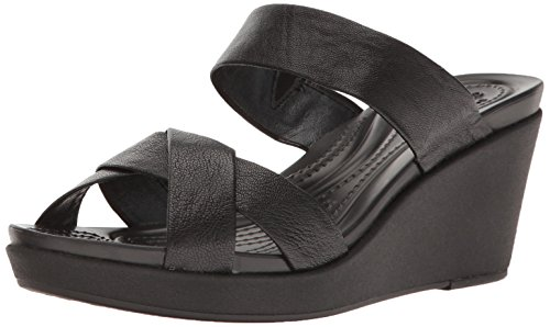 crocs Women's leighann Leather Wedge Sandal, Black/Black, 7 M US by Crocs (Image #1)