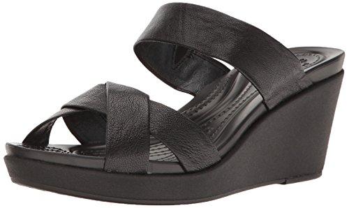 crocs Women's leighann Leather Wedge Sandal, Black/Black, 7 M US by Crocs