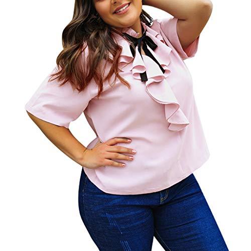 kaifongfu Women Solid Color O-Neck Ruffles Bow Tie Chiffon Short Sleeve T-Shirt Top Blouse(Pink,XXXXL)