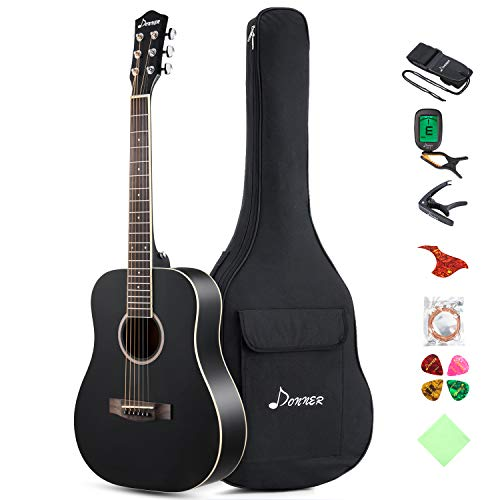 "Donner 36"" Dreadnought Acoustic Guitar Package 3/4 Size Beginner Guitar Kit Black DAG-1MB Spruce Body With Bag Capo Tuner Strap String Guitar Picks"