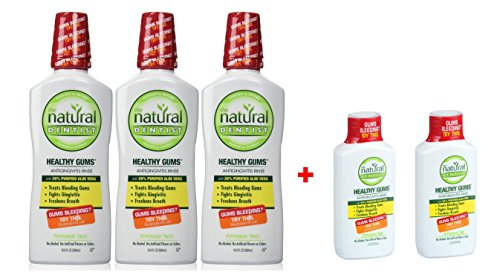 Natural Dentist Healthy Gums Peppermint Twist Antigingivitis Rinse, 16.9 Ounce PK/3 + 2 FREE Travel Size Bottle