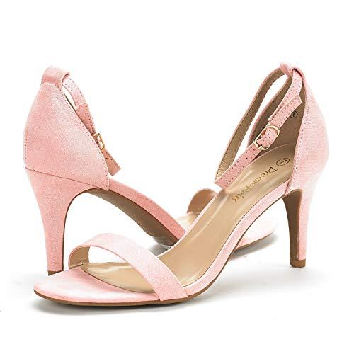 ee33f14e1c569 ... DREAM PAIRS Women's Jenner Pink Ankle Strap Stilettos Low Heels Pumps  Sandals Dress Shoes Size ...