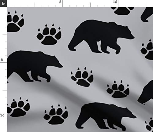 Black Bear Fabric - Paws Grey Silhouette Woodland Nursery Decor Snugglyjacks Bears Paw Print Gray Print on Fabric by The Yard - Sport Lycra for Swimwear Performance Leggings Apparel Fashion