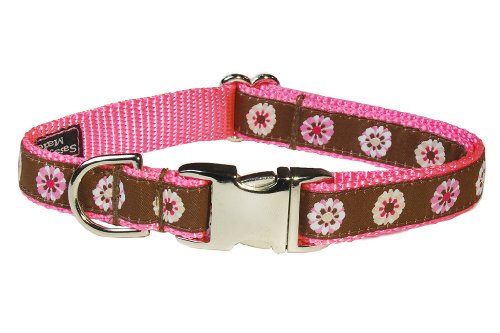 "Medium Pink Fashion Flower Dog Collar: 3/4"" Wide, Adjusts 13-20"" - Made in USA."