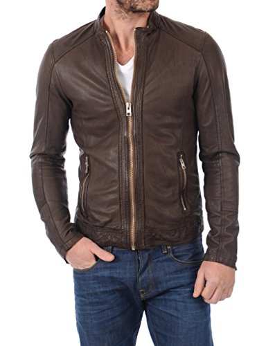 LEATHER FARM Men's Lambskin Leather Bomber Motercycle Jacket X-Large Brown