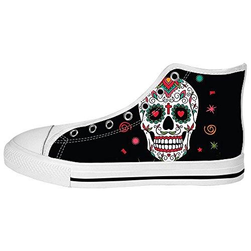 Custom Skull Mens Canvas Shoes Los Cordones En High Above The Sneakers Shoes Zapatos De Lona.