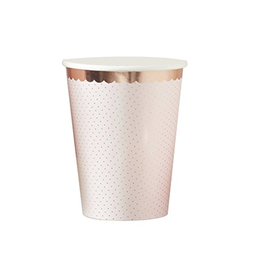 Pink And Rose Gold Foiled Paper Party Cups - 8 Pack