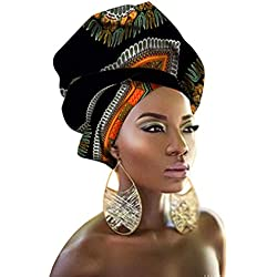 "African Head Wraps 43""x35"" African Wax Print Head Scarf Tie for Women"