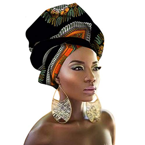 African Head Wraps 43''x35'' African Wax Print Head Scarf Tie for Women by HAPEE