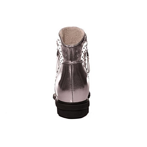 Silver Boots Womens Round Toe With Slipping AmoonyFashion Heels Low Toe Zippers Sole and Closed n0OWWASq