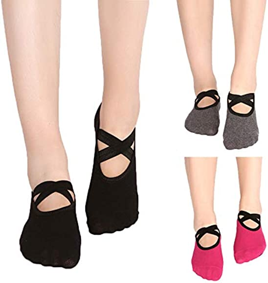 Kitty princess 3 pares de calcetines de yoga pequeños calcetines redondos de encaje sin espalda calcetines de yoga señoras calcetines de deslizamiento ...