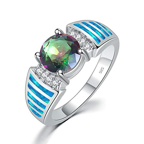 - CiNily Blue Fire Opal Mystic Topaz Silver Zircon Women Jewelry Gemstone Ring Size 5-11 (9)
